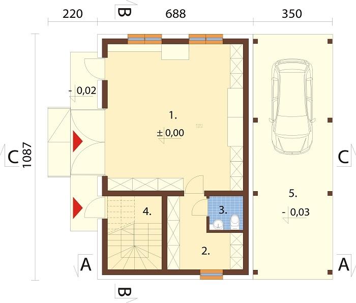 Projekt domu L-6722 - rzut