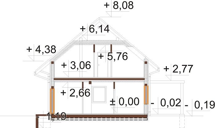 Projekt domu DM-6765 - przekrój