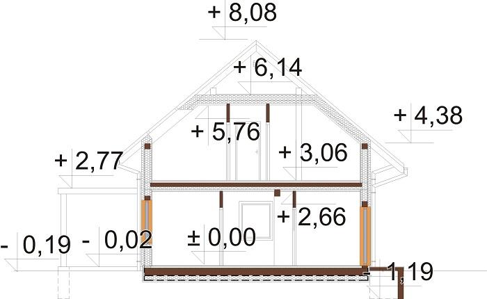 Projekt domu L-6765 - przekrój