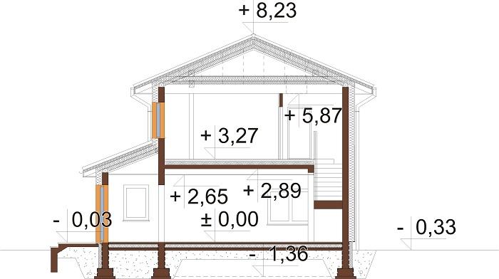 Projekt domu DM-6753 - przekrój