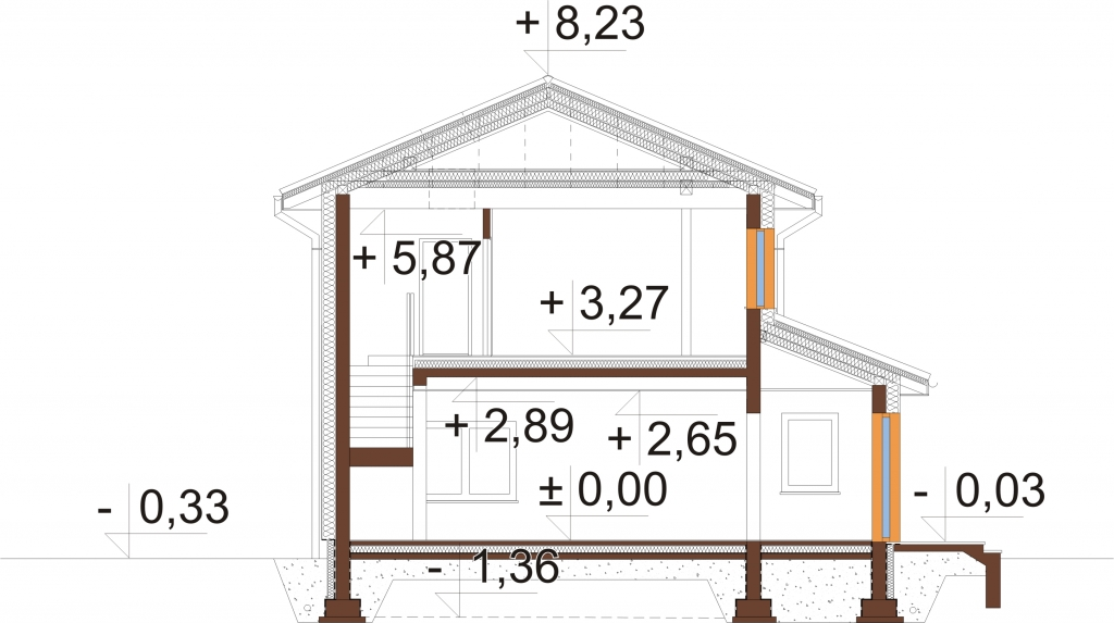 Projekt domu L-6753 - przekrój