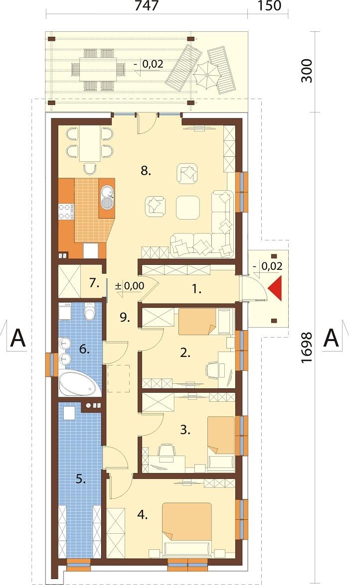 Projekt domu DM-6743 - rzut