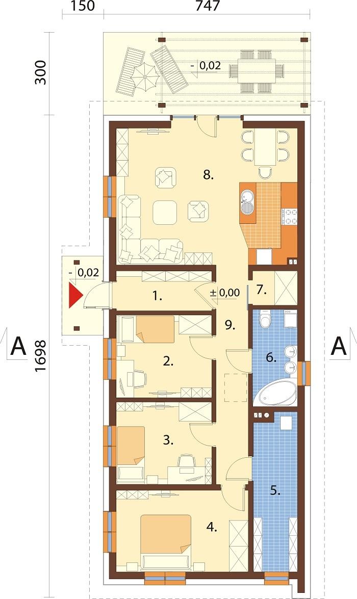 Projekt domu L-6743 - rzut