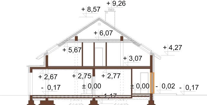 Projekt domu L-6750 - przekrój