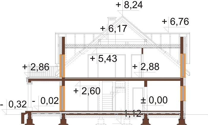 Projekt domu L-6752 - przekrój