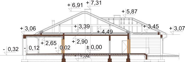 Projekt domu DM-6754 - przekrój