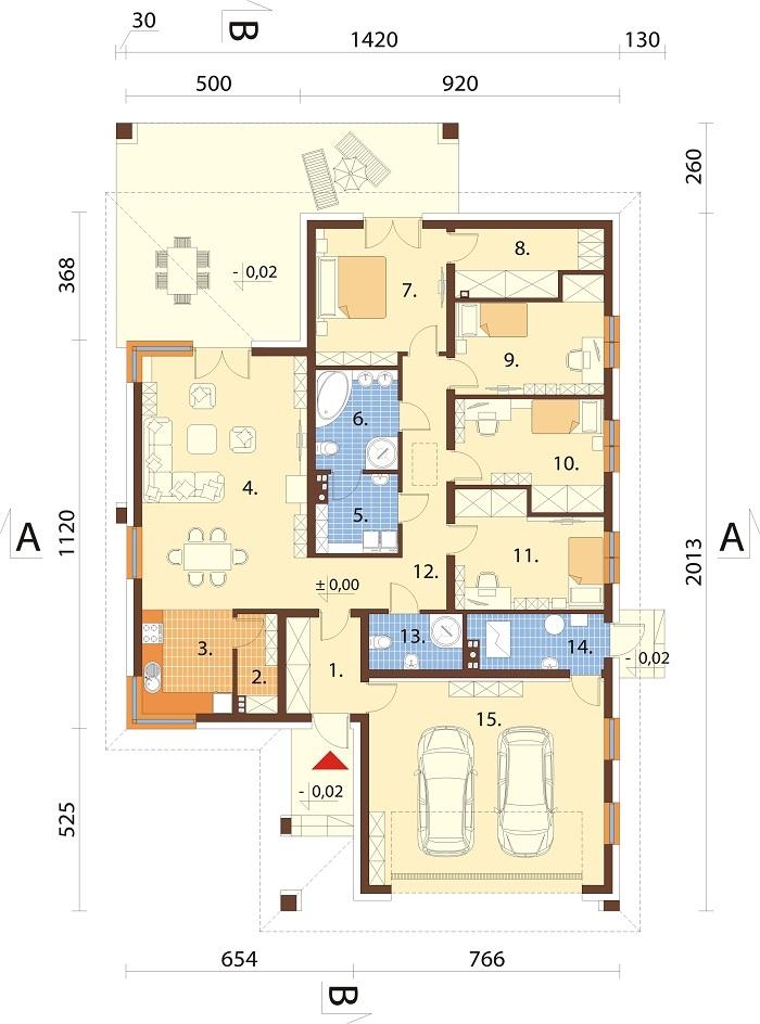Projekt domu DM-6754 - rzut