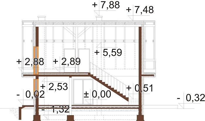 Projekt domu L-6755 - przekrój
