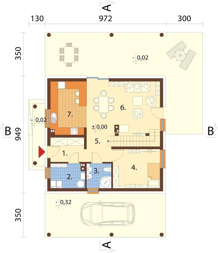 Projekt domu L-6755 - rzut