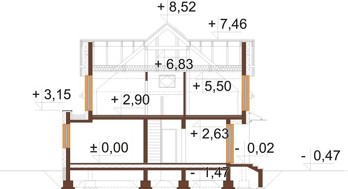 Projekt domu DM-6758 - przekrój