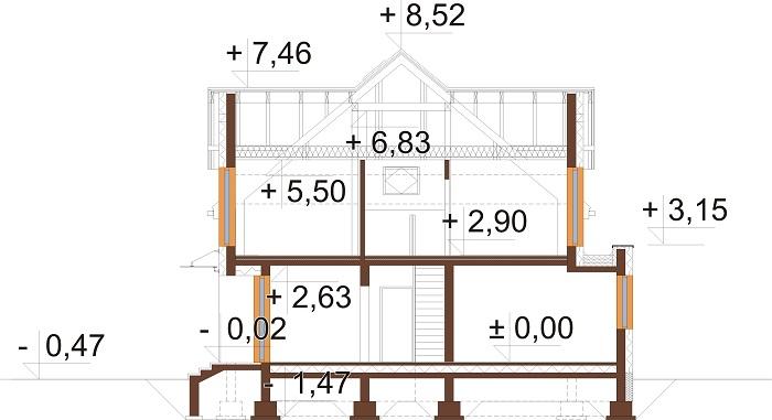 Projekt domu L-6758 - przekrój