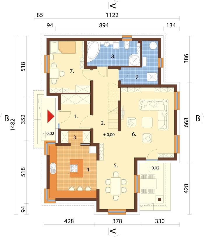 Projekt domu L-6758 - rzut