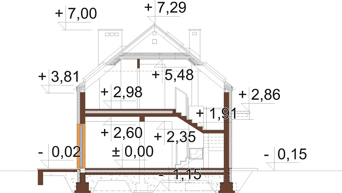 Projekt domu DM-6768 - przekrój