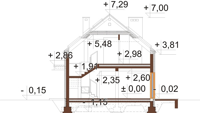Projekt domu L-6768 - przekrój