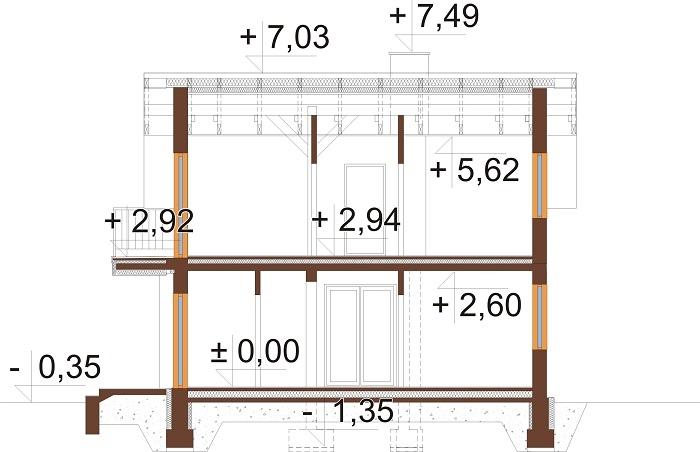 Projekt domu DM-6775 - przekrój
