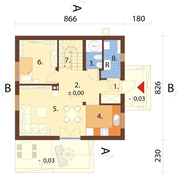 Projekt domu DM-6775 - rzut