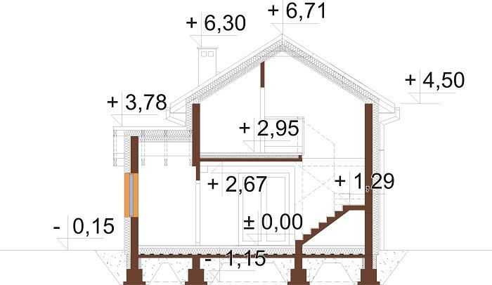Projekt domu L-6774 - przekrój