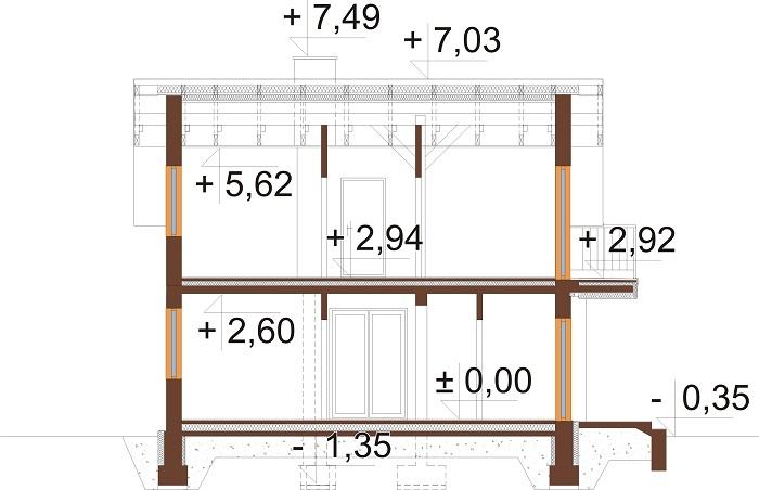 Projekt domu L-6775 - przekrój
