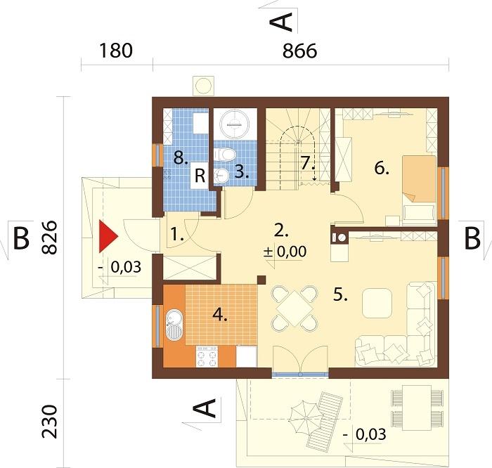 Projekt domu L-6775 - rzut