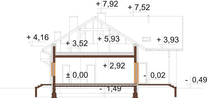 Projekt domu DM-6751 - przekrój