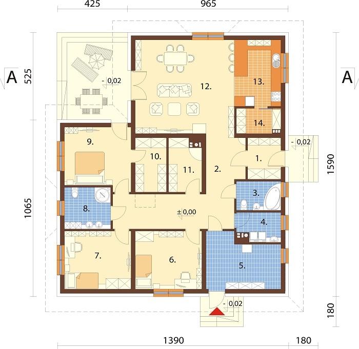 Projekt domu DM-6751 - rzut