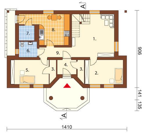 Projekt domu L-5502 - rzut