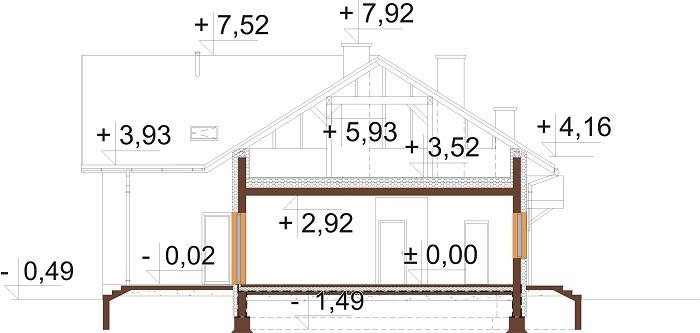Projekt domu L-6751 - przekrój