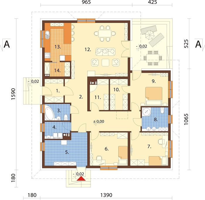 Projekt domu L-6751 - rzut