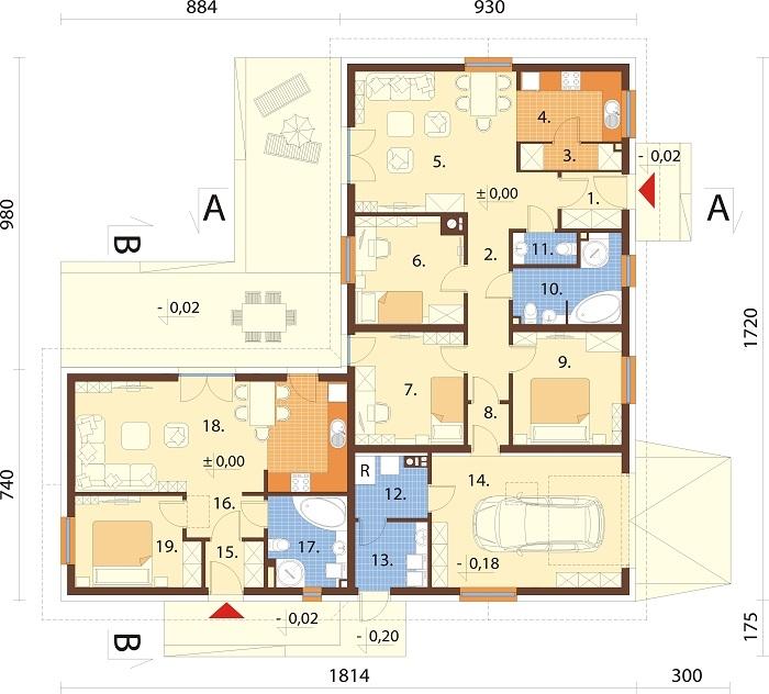 Projekt domu DM-6759 - rzut