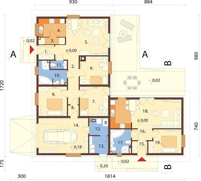 Projekt domu L-6759 - rzut