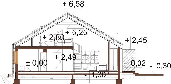 Projekt domu DM-6757 - przekrój