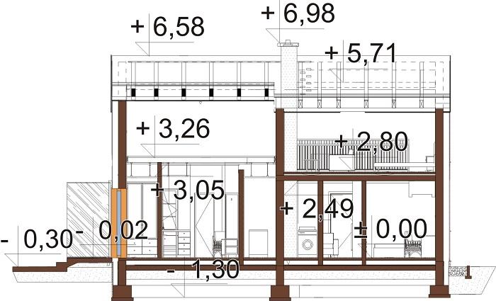 Projekt domu L-6757 - przekrój