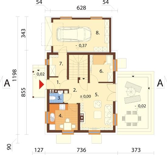 Projekt domu L-6190 B - rzut