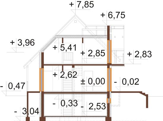 Projekt domu L-6190 B - przekrój