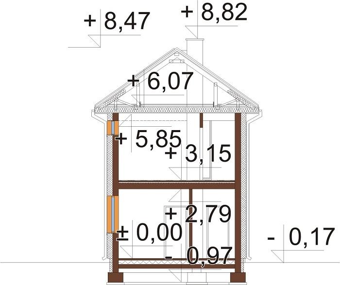 Projekt domu L-6770 - przekrój
