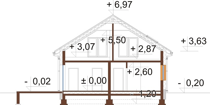 Projekt domu L-6776 - przekrój