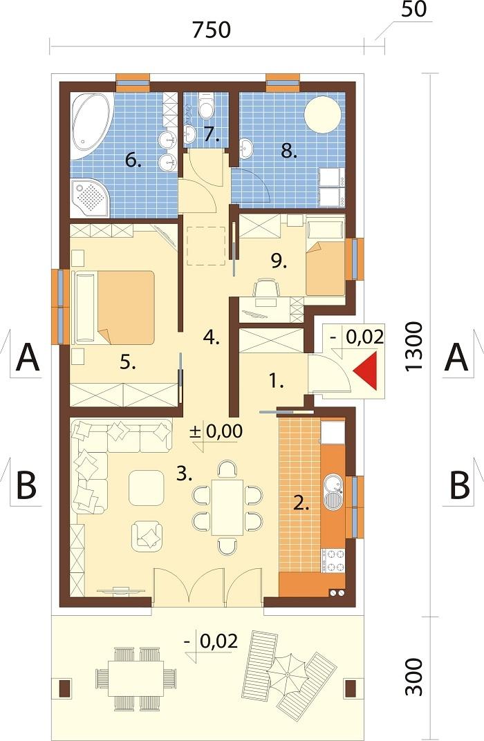 Projekt domu DM-6762 - rzut
