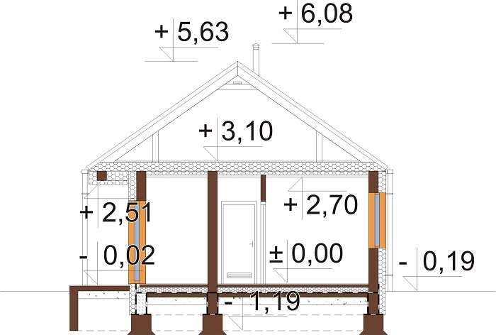Projekt domu L-6762 - przekrój