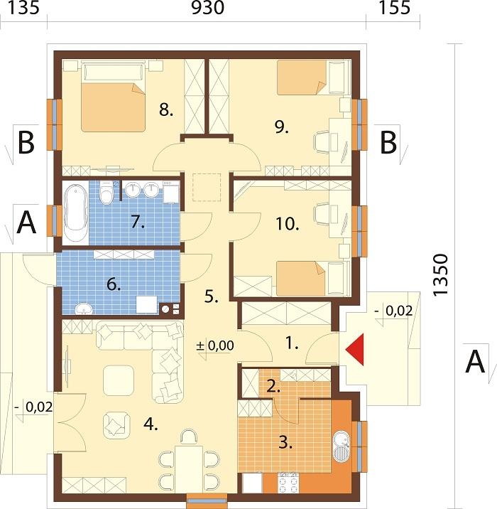Projekt domu DM-6616 C - rzut