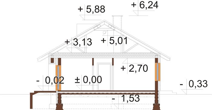 Projekt domu DM-6616 C - przekrój