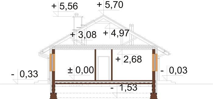 Projekt domu DM-6616 G - przekrój