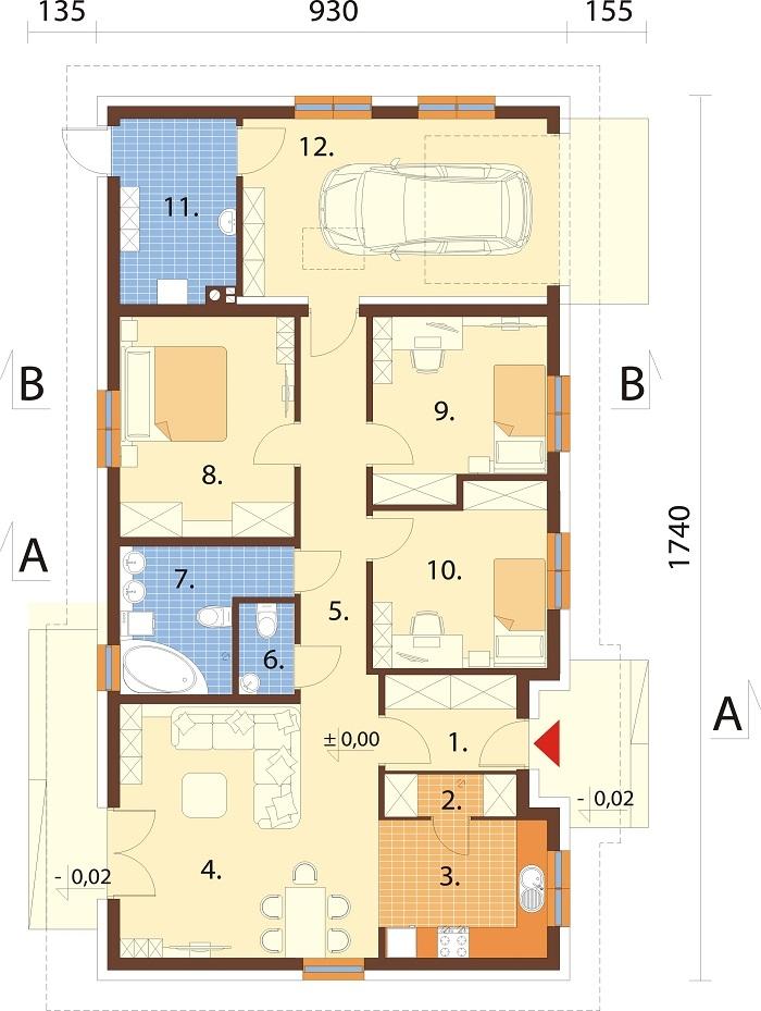 Projekt domu DM-6616 G - rzut
