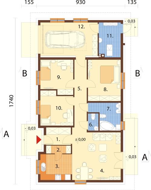 Projekt domu L-6616 G - rzut