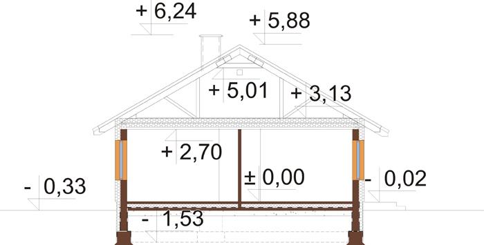 Projekt domu L-6616 C - przekrój