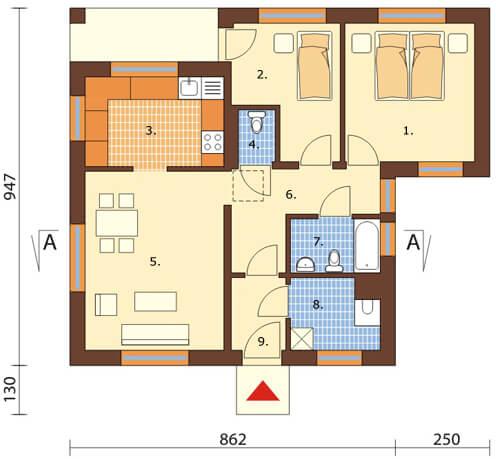 Projekt domu L-5516 - rzut