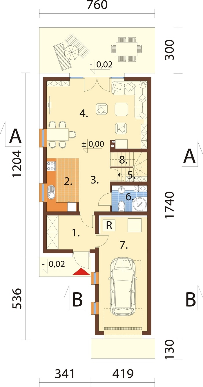 Projekt domu DM-6766 - rzut