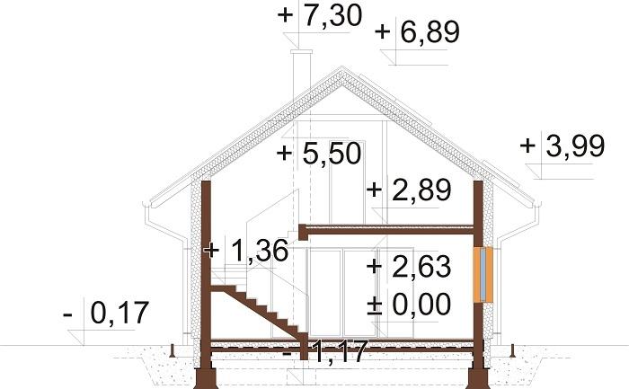 Projekt domu L-6766 - przekrój