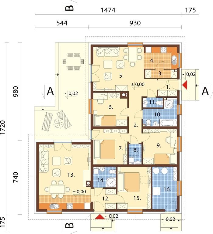 Projekt domu DM-6759B - rzut