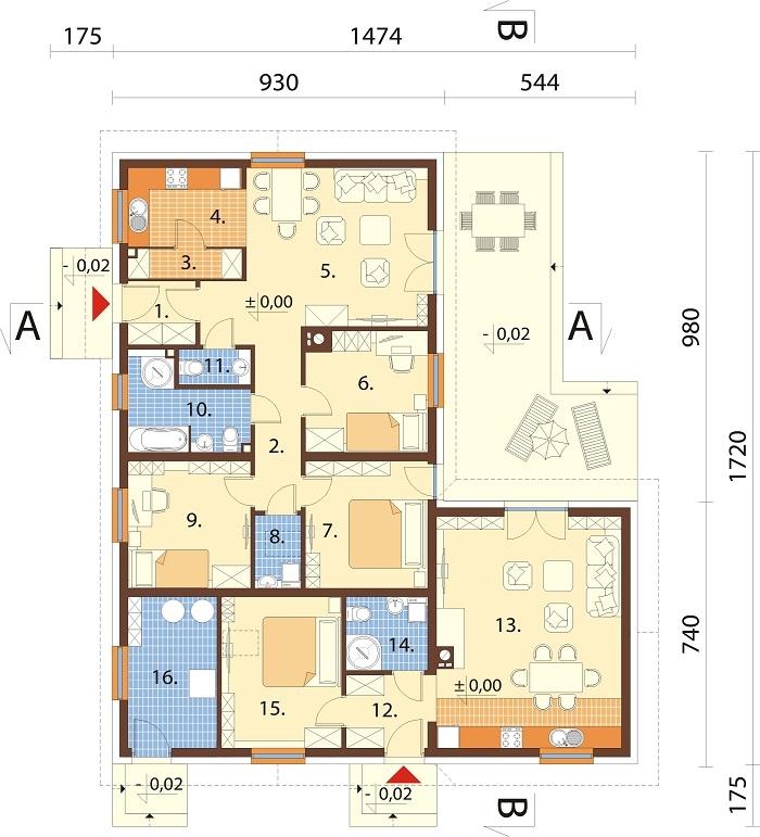 Projekt domu L-6759B - rzut