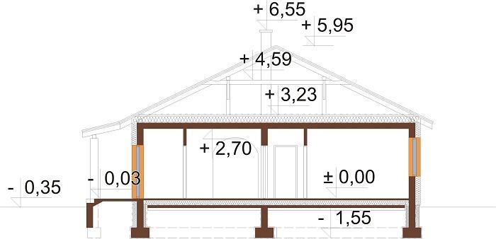 Projekt domu L-5518 - przekrój